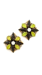 Erickson Beamon Queen Bee Stud Earrings Green Multi