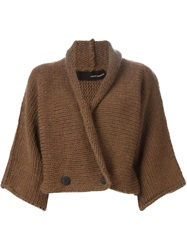 Isabel Benenato Double Breasted Cardigan Brown