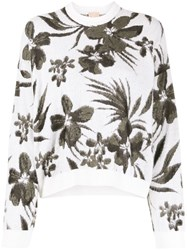 Nude Floral Knit Sweater Neutrals