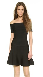 Herve Leger Francesca Off Shoulder Top Black