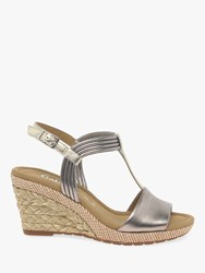 Gabor Jess Wide Fit Wedge Sandals Pewter Leather