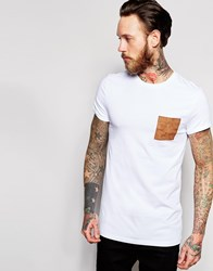 Asos Longline Muscle T Shirt With Faux Suede Pocket And Roll Sleeve In White White
