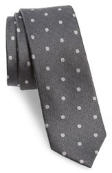 The Tie Bar 'S Dotted Hitch Silk And Wool Skinny Grey