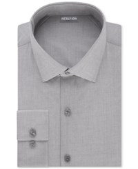 Kenneth Cole Reaction Men's Tall Slim Fit Techni Stretch Performance Dress Shirt Grey Frost