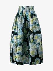 Adam By Adam Lippes Floral Print Maxi Skirt White Black Multi Coloured