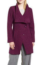 Halogen Boiled Wool Blend Asymmetrical Coat Berry