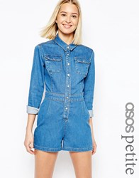 Asos Petite Denim Fitted Western Playsuit In Mid Wash Blue Blue