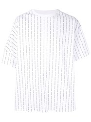 Wooyoungmi Logo Stripe Oversized T Shirt White