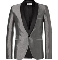 Saint Laurent Silver Slim Fit Satin Trimmed Woven Tuxedo Jacket