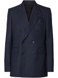 Burberry English Fit Birdseye Suit Jacket Blue