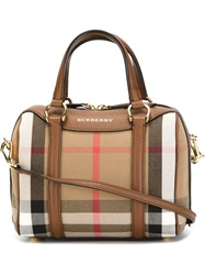 Burberry 'Haymarket' Print Bowling Bag Nude And Neutrals