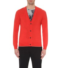 Dries Van Noten James Wool And Cotton Blend Cardigan Coral