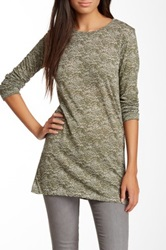 Go Couture Long Sleeve Crew Neck Burnout Tee Green