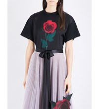 Christopher Kane Beauty And The Beast Rose Cotton T Shirt Black