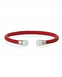 Majorica Red Leather And Pearl Bangle Bracelet White