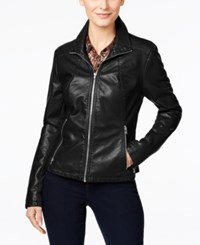 Kenneth Cole Faux Leather Moto Jacket Black