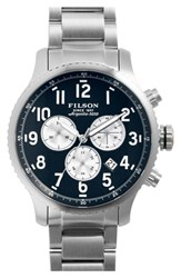 Men's Filson 'The Mackinaw Field' Chronograph Bracelet Watch 43Mm Silver Navy