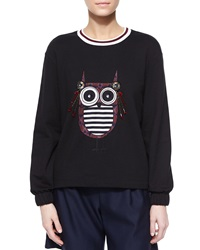 Mother Of Pearl Baley Embellished Owl Knit Top