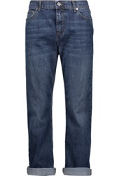 Mcq By Alexander Mcqueen Mid Rise Cropped Faded Boyfriend Jeans Mid Denim