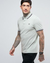 Fred Perry Slim Pique Polo Shirt Twin Tipped In Mint Green Mint