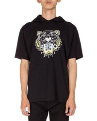 Kenzo Tiger Icon Short Sleeve Hoodie Black
