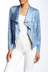Insight Cracked Faux Leather Top Stitch Jacket Blue