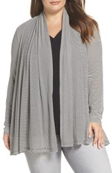 Gibson Plus Size Women's X Living In Yellow Claire Cardigan Black White Stripe