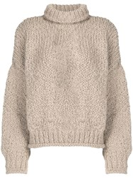 Snobby Sheep Mock Neck Knitted Sweater Neutrals
