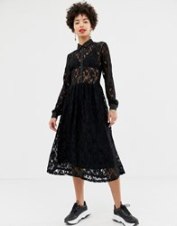 Na Kd Long Sleeve Midi Dress With Lace Detail In Black