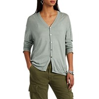Pas De Calais Cotton Blend V Neck Cardigan Lt. Green