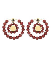 Marni Beaded Hoop Earrings Red