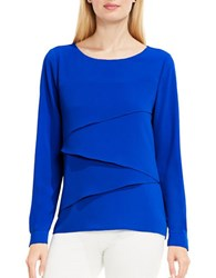 Vince Camuto Long Sleeve Asymmetrical Layered Blouse Core Blue