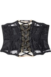Agent Provocateur Essie Satin Trimmed Leavers Lace And Stretch Tulle Corset Black