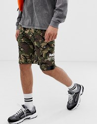 Aape By A Bathing Ape Jersey Cargo Shorts With Pocket Print In Camo Green