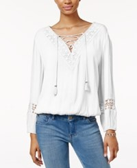 American Rag Crocheted Lace Up Peasant Top Only At Macy's Off White