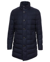 Moncler Flannel Wool Puffa Coat Navy Flannel Navy Blue
