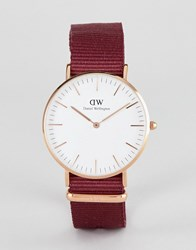 Daniel Wellington Roselyn Watch In Rose Gold With Canvas Strap 36Mm Red