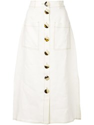 Nicholas Front Button Skirt White