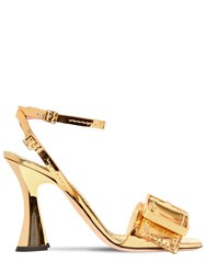 Rochas 100Mm Buckled Patent Leather Sandals Gold