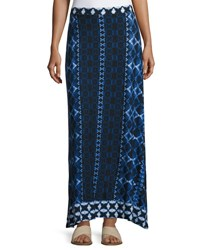 Joan Vass Printed Flared Maxi Skirt Blue