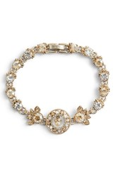 Marchesa Ornate Crystal Bracelet Gold Multi