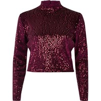 River Island Womens Burgundy Sequin Turtleneck Crop Top Red