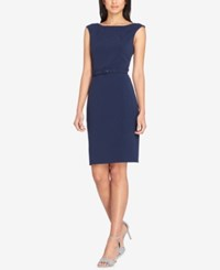 Tahari By Arthur S. Levine Asl Belted Sheath Dress New Navy
