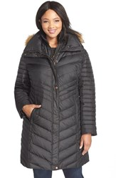 Plus Size Women's Marc New York 'Karla' Faux Fur Trim Long Down And Feather Fill Coat Black