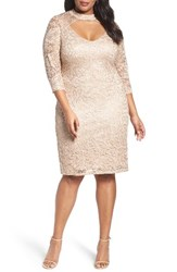Marina Plus Size Women's Cutout Sequin Lace Sheath Dress Champagne