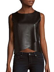Saks Fifth Avenue Faux Leather Sleeveless Wrap Style Top Black