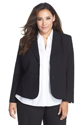 Lafayette 148 New York 'Gladstone' Stretch Wool Jacket Plus Size Nordstrom Exclusive Black