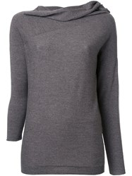 Forme D'expression Draped Neck Longsleeve T Shirt Grey