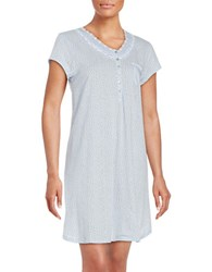 Eileen West Dotted Short Sleeve Nightgown Blue