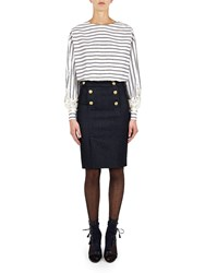 Alexis Mabille Square Top In Striped Poplin With Anchor Buttons Blue